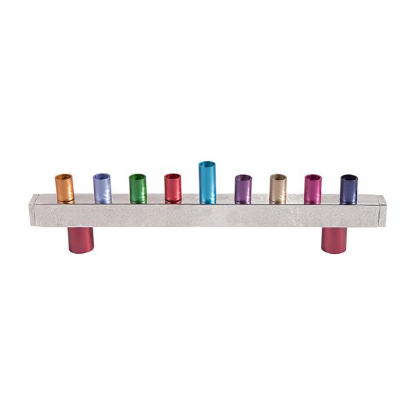 תמונה של חנוכיה - פס - עבודת פטיש - צבעוני - HMU-1   יאיר עמנואל