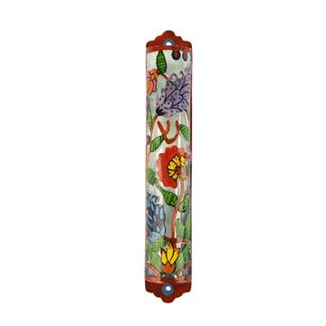 תמונה של מזוזה חיתוך לייזר - ציור יד - פרחים - MLC-3 | יאיר עמנואל