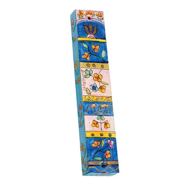 Picture of מזוזת עץ גדולה - פרחים + משבצות - MZL-19 | יאיר עמנואל