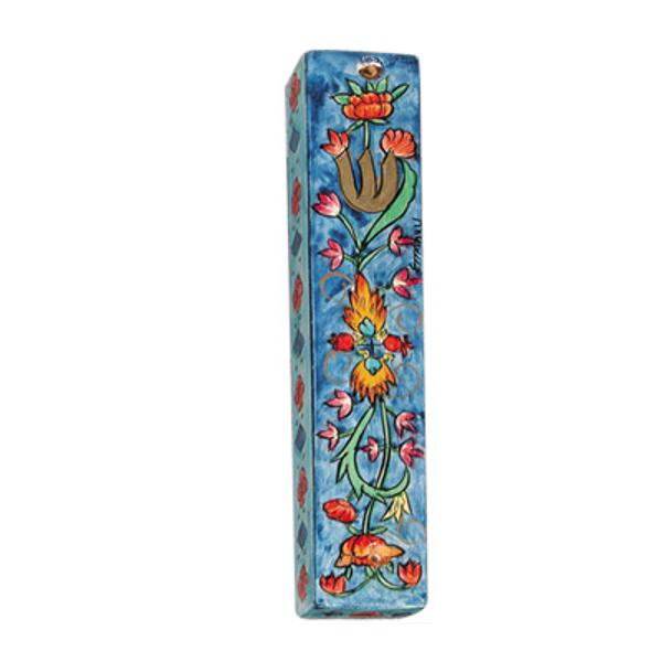 תמונה של מזוזת עץ קטנה - פרחים כחול - MZS-7 | יאיר עמנואל