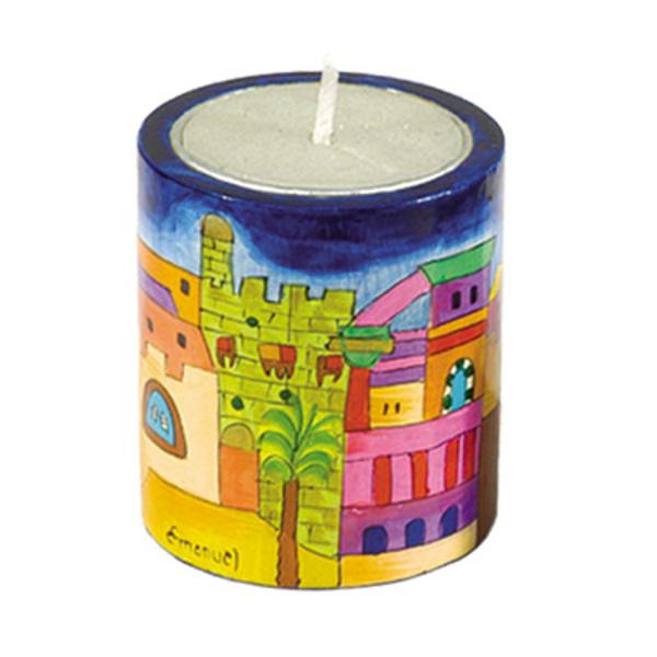 Picture of מחזיק לנר נשמה + נר - ציור יד על עץ - ירושלים - NN-1   יאיר עמנואל