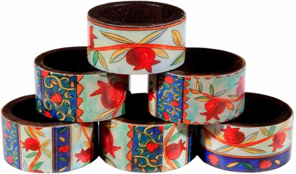 תמונה של חבקים למפיות - עץ מודפס - רימונים - RNW-3 | יאיר עמנואל