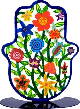 Picture of חמסה גדולה - סטנד מתכת - ציור יד - פרחים - SHL-2 | יאיר עמנואל