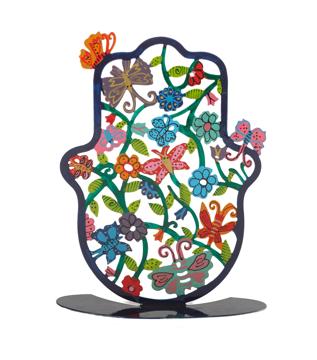 Picture of חמסה גדולה - סטנד מתכת - ציור יד - פרפרים - SHL-4 | יאיר עמנואל