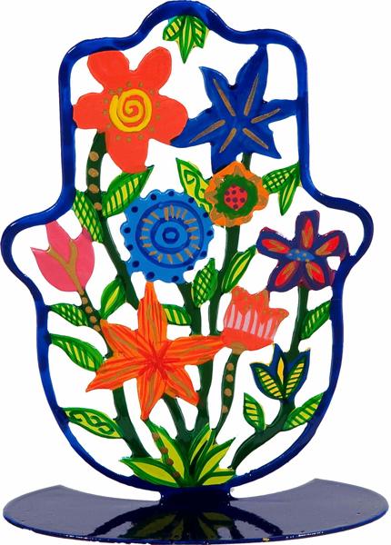 תמונה של חמסה קטנה - סטנד מתכת - ציור יד - פרחים - SHS-3   יאיר עמנואל