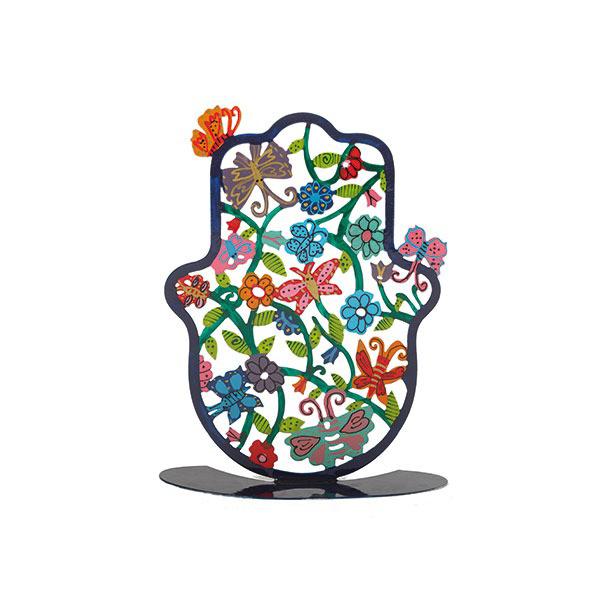 תמונה של חמסה קטנה - סטנד מתכת - ציור יד - פרפרים - SHS-5 | יאיר עמנואל