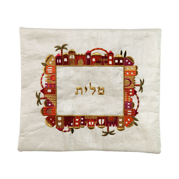 Picture of תיק טלית - רקמת מכונה - ירושלים - צבעוני על לבן - TA-1 | יאיר עמנואל