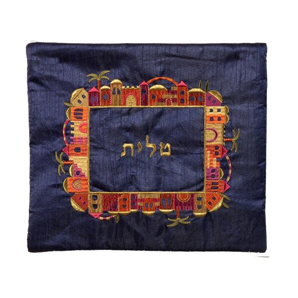 Picture of תיק טלית - רקמת מכונה - ירושלים - צבעוני על כחול - TA-2   יאיר עמנואל