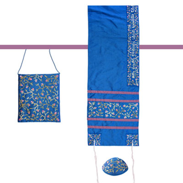 Picture of טלית - רקמת מכונה - פרחים - כחול - TAB-1B | יאיר עמנואל