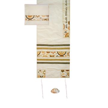 תמונה של טלית - רקמת מכונה - מגן דוד - חום - TAB-3G   יאיר עמנואל