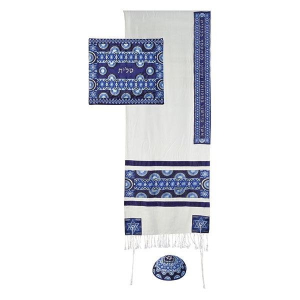 תמונה של טלית רקמה מלאה סמלים - כחול - TAH-1B   יאיר עמנואל