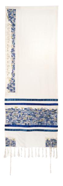 תמונה של טלית רקמה צפופה - ירושלים - כחול - TAK-2 | יאיר עמנואל