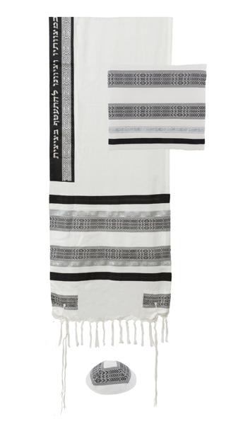 Picture of טלית בדים שונים-שחור/לבן - TAP-12 | יאיר עמנואל