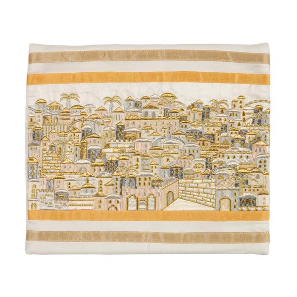 תמונה של תיק טלית - רקמה מלאה - ירושלים כסף וזהב - TBB-4Z   יאיר עמנואל