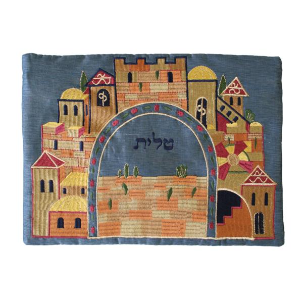 Picture of תיק טלית - רקמת מכונה - ירושלים כחול - TBC-4B | יאיר עמנואל