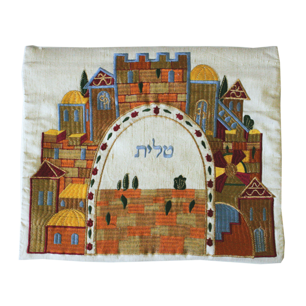 Picture of תיק טלית - רקמת מכונה - ירושלים לבן - TBC-4W   יאיר עמנואל