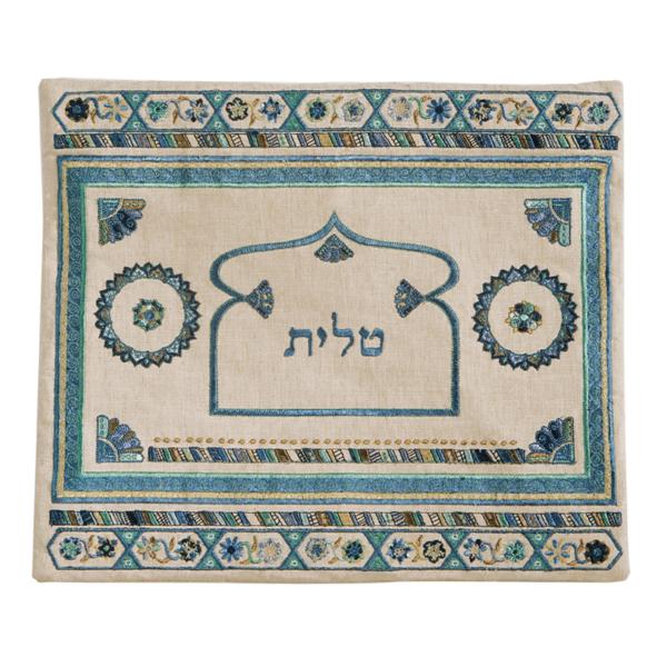 Picture of תיק טלית - פשתן + רקמה - כחול - TBD-2   יאיר עמנואל