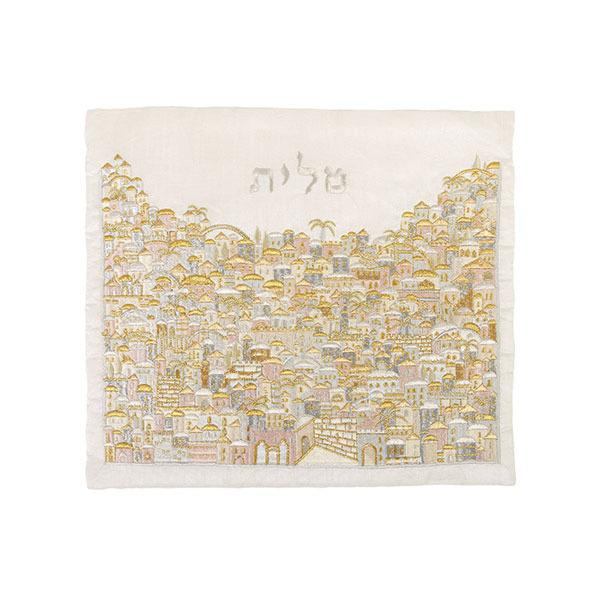 תמונה של תיק טלית - רקמה מלאה - ירושלים כסף + זהב - TBF-13 | יאיר עמנואל