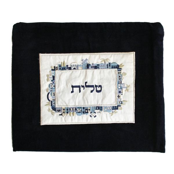 Picture of תיק טלית - קטיפה + אפליקציה - ירושלים - כחול - TBV-2 | יאיר עמנואל