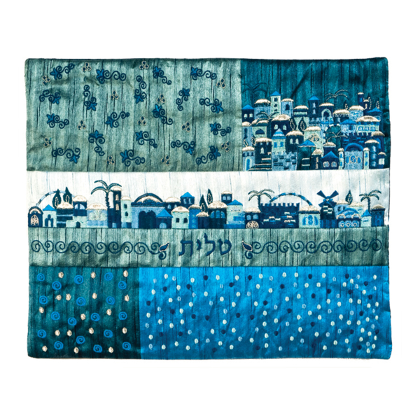 תמונה של תיק טלית - פאצ`ים + רקמה - ירושלים כחול - TE-1B | יאיר עמנואל