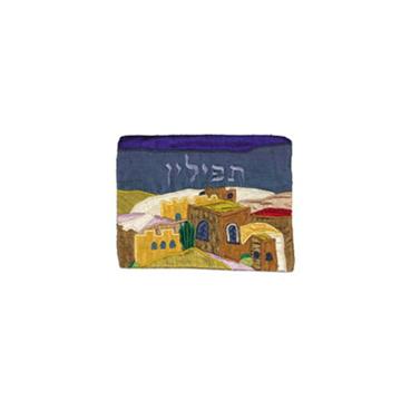 תמונה של תיק תפילין - אפליקציה משי פראי - ירושלים - צבעוני - TF-3   יאיר עמנואל