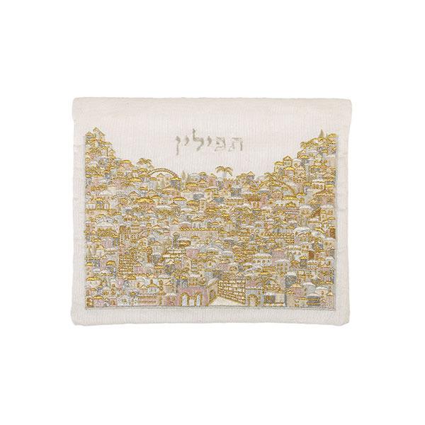 תמונה של תיק תפילין - רקמה מלאה - ירושלים -כסף + זהב - TFF-13 | יאיר עמנואל