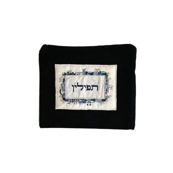 Picture of תיק תפילין - קטיפה + אפליקציה - ירושלים - כחול - TFV-2 | יאיר עמנואל