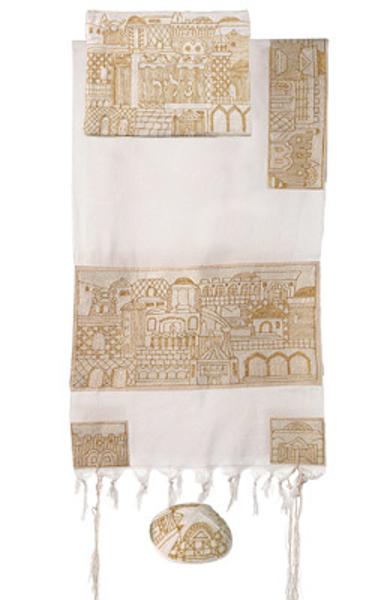 תמונה של טלית רקמת יד מלאה חדשה - ירושלים זהב - TNE-2   יאיר עמנואל