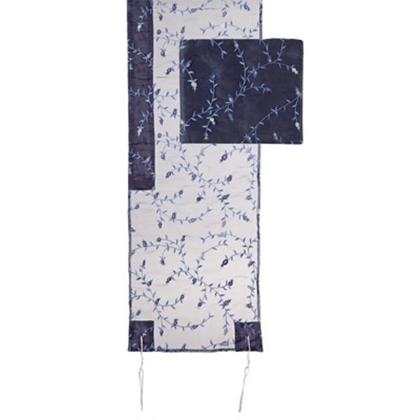 תמונה של טלית אורגנזה רקמה מלאה - כחול - TRZ-1B   יאיר עמנואל