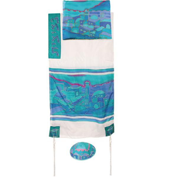 Picture of טלית משי - נוף כחול - לבן - TS-6W | יאיר עמנואל