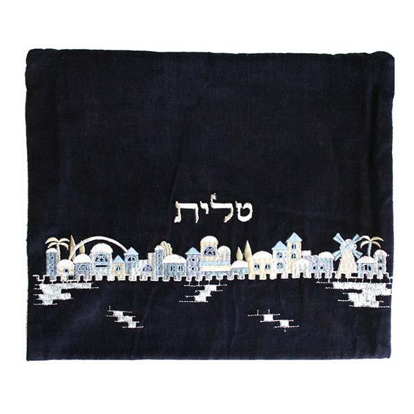 תמונה של תיק טלית - קטיפה - ירושלים - כחול - TV-2 | יאיר עמנואל