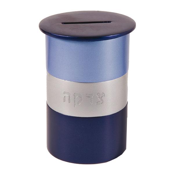 תמונה של קופת צדקה מתכת - עגול - כחול - TZA-2 | יאיר עמנואל