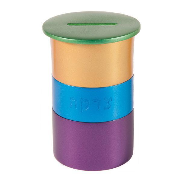 תמונה של קופת צדקה מתכת - עגול - ירוק + צבעוני - TZA-4 | יאיר עמנואל
