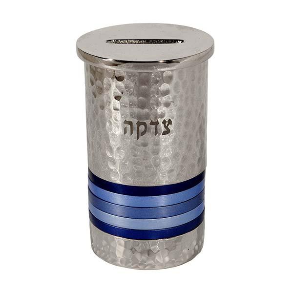 תמונה של קופת צדקה - עבודת פטיש - טבעות - כחול - TZC-2 | יאיר עמנואל