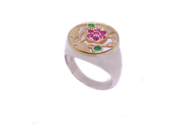 "Picture of טבעת ""הרימון"" כסף בשילוב זהב עם אבני רובי/אמרלד |"