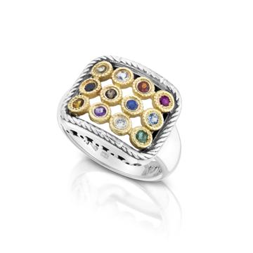 תמונה של טבעת חושן כסף בשילוב זהב עם אבני חן אמתיות |