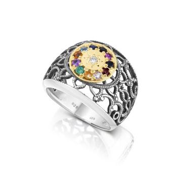 תמונה של טבעת כסף תחרה בשילוב זהב משובצת ב-12 אבני החושן |